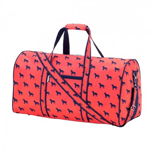 Duffel Bag - Dog - Orange and Navy - Pistachios Monogram Embroidery