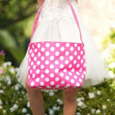 Easter Basket -  Hot Pink and White Polka Dot