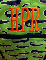 Duffel Bag - Gator - Green, Navy and White - Pistachios Monogram Embroidery