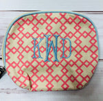 Madison Cosmetic Bag in Punch/Sky - Pistachios Monogram Embroidery
