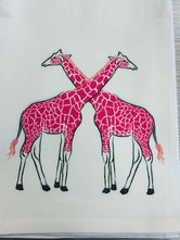 Pink Giraffe Tea / Kitchen Towel