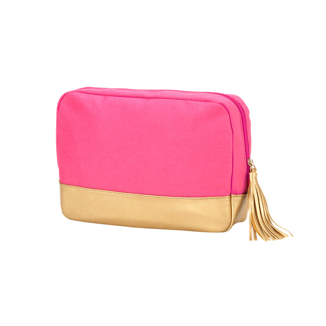 Cabana Cosmetic Bag - Hot Pink and Gold - Pistachios Monogram Embroidery
