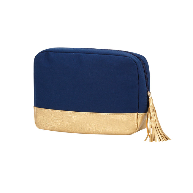 Cabana Cosmetic Bag - Navy and Gold - Pistachios Monogram Embroidery