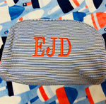 Seersucker Traveler/Dopp Kit/Diaper Caddy - Navy - Pistachios Monograms and Gifts