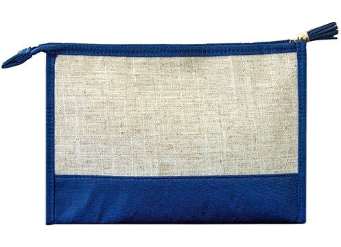 Navy Linen Cosmetic Bag - Pistachios Monogram Embroidery