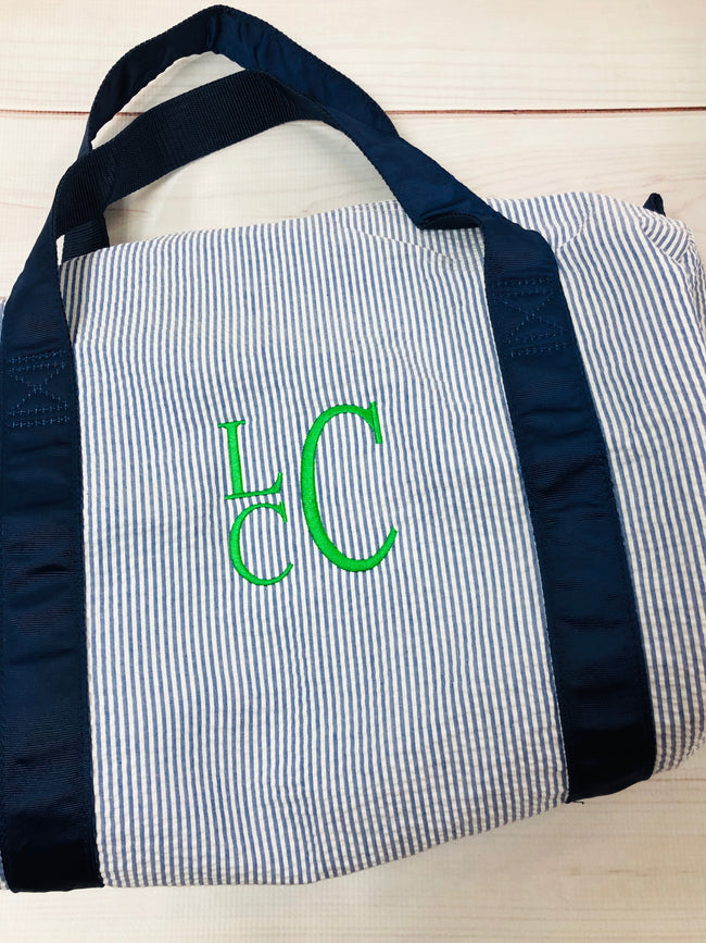 Seersucker Duffel Bag - Navy - Pistachios Monogram Embroidery