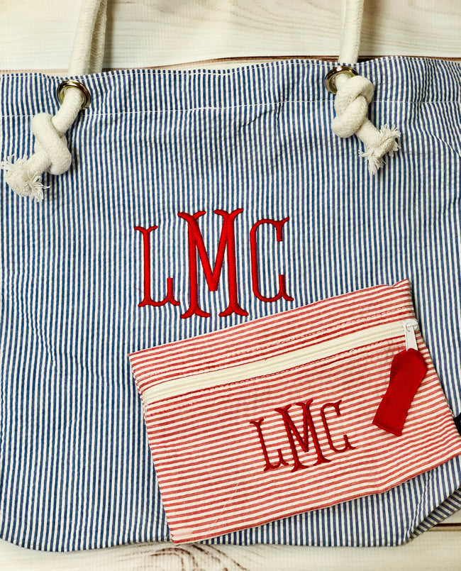 Seersucker Cosmo Bag - Red - Pistachios Monograms and Gifts