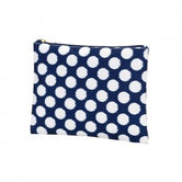 Zip Pouch -  Navy with White Polka Dots