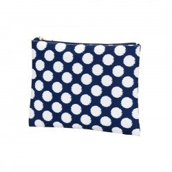 Zip Pouch -  Navy with White Polka Dots - Pistachios Monogram Embroidery