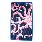 Octopus Beach Towel - Large - Navy with Pink - Pistachios Monogram Embroidery