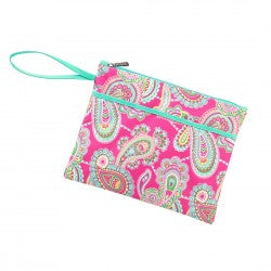 Wristlet - Paisley - Hot Pink Multicolor - Pistachios Monogram Embroidery