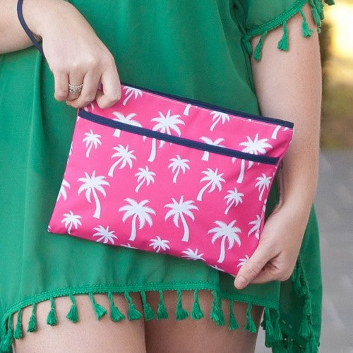 Wristlet - Palm Tree - Hot Pink and White with Navy Trim - Pistachios Monogram Embroidery