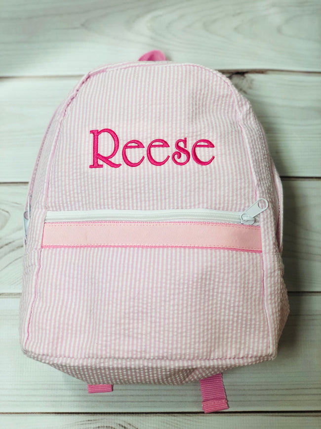 Seersucker Backpack -  Pink Small - Pistachios Monogram Embroidery