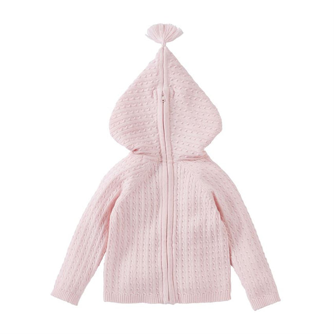 Pink Cable Knit Hoodie/Sweater for Baby - Pistachios Monograms and Gifts