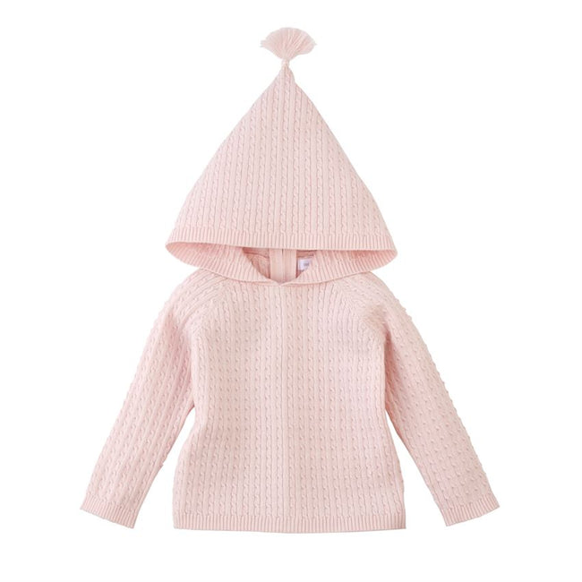 Pink Cable Knit Hoodie/Sweater for Baby - Pistachios Monogram Embroidery