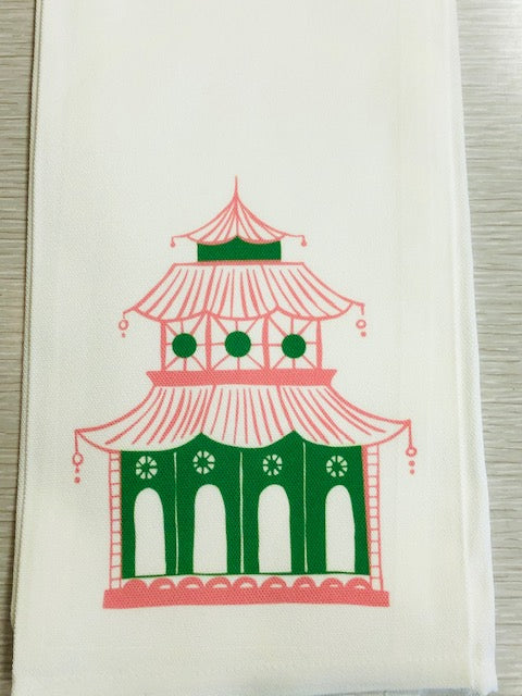 Pink and Green Pagoda Tea / Kitchen Towel - Pistachios Monograms and Gifts
