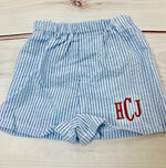 Seersucker Shorts - Baby blue - Pistachios Monograms and Gifts