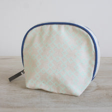 Madison Cosmetic Bag in Sky Blue/Navy - Pistachios Monogram Embroidery