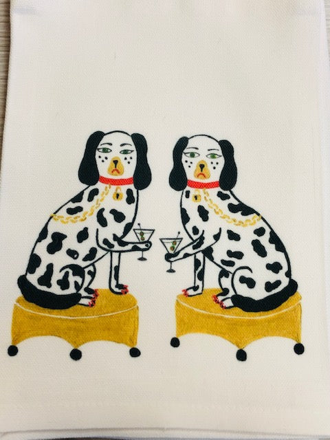 Nip and Tuck Tea / Kitchen Towel - Dogs with Cocktails - by Willa Heart - Pistachios Monogram Embroidery