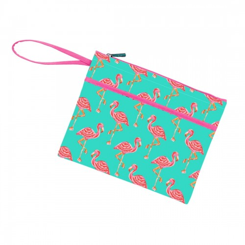 Wristlet Zip Pouch  - Tickled Pink Flamingo - Pistachios Monogram Embroidery