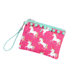 Unicorn Wishes Pom Pom Wristlet - Pistachios Monogram Embroidery