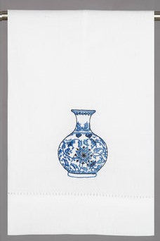 Chinoiserie Ginger Jar/Vase Hand/Tea Towel II - Pistachios Monogram Embroidery