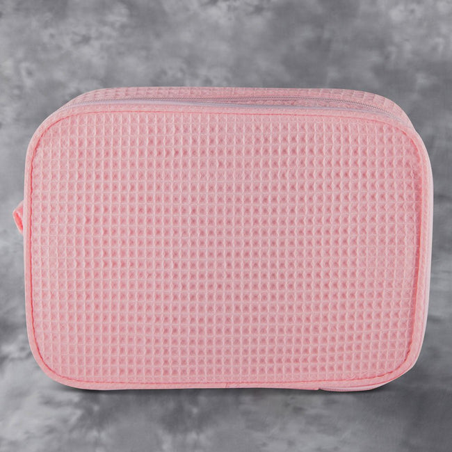 Waffle Weave Cosmetic Bag - Blush Pink - Pistachios Monogram Embroidery