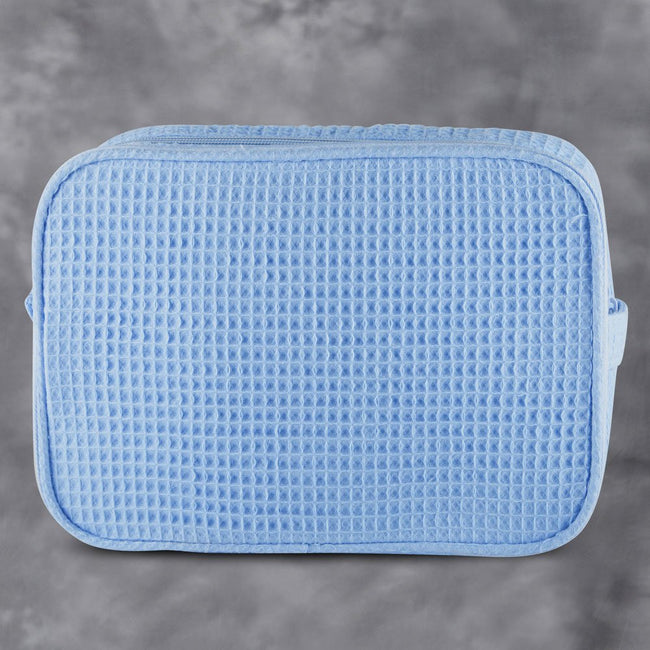 Waffle Weave Cosmetic Bag - Serenity Blue - Pistachios Monogram Embroidery