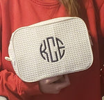 Waffle Weave Cosmetic Bag - White - Pistachios Monogram Embroidery