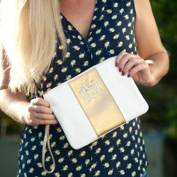 Cabana Wristlet - Cream and Gold - Pistachios Monogram Embroidery