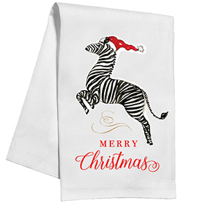 Zebra with Santa Hat Tea/Kitchen Towel