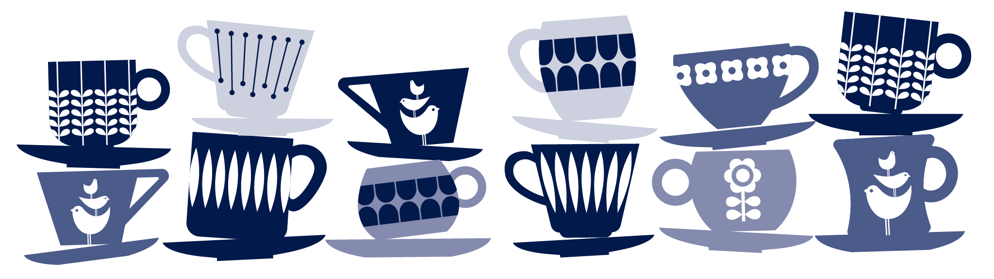 Quietly stacked coffee cup illustration