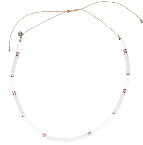 Collier/Ras de cou Quartz Rhodonite Hématite Coquillage