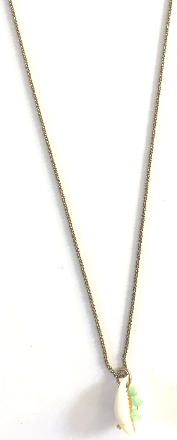 Collier plaqué or Cauri Emeraude