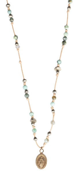 Collier Turquoise Pyrite Madone