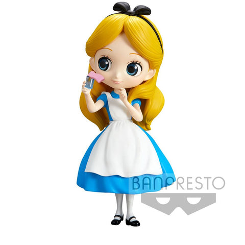 DISNEY Q POSKET MINI FIGURE ALICE THINKING TIME NORMAL COLOR VER. 14 CM