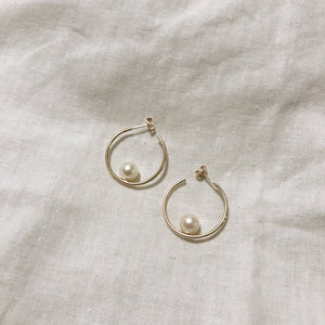 Small Pearl Hoops