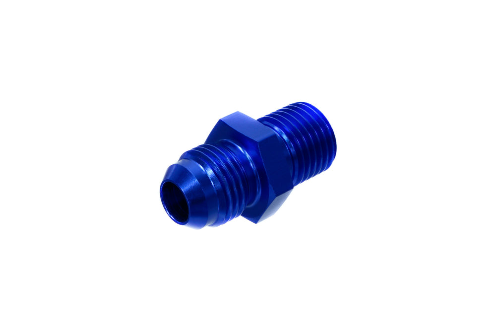 PitVisit 6AN Male to 14mm x 1.50 Male Port Straight Fitting Anodized Blue Aluminum
