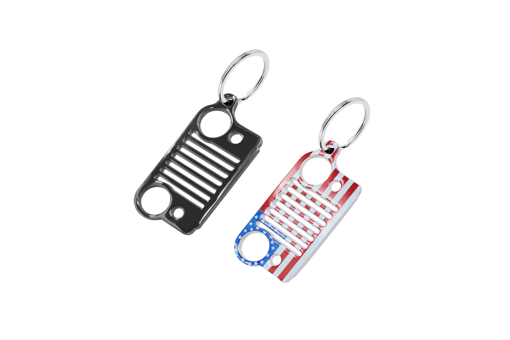 PitVisit Jeep Grill Stainless Steel Key Chain