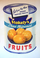 1940's Stokely's Art Deco Whole Peaches Can Poster
