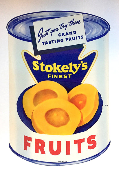 1940's Stokely's Art Deco Sliced Peaches Can Grocery Store Poster