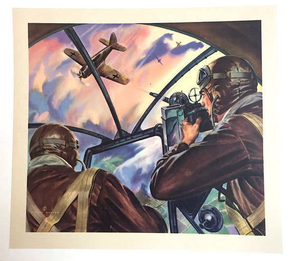 1940's Vintage WWII WW2 signed Philip Ronfor Illustrator Aviation Print