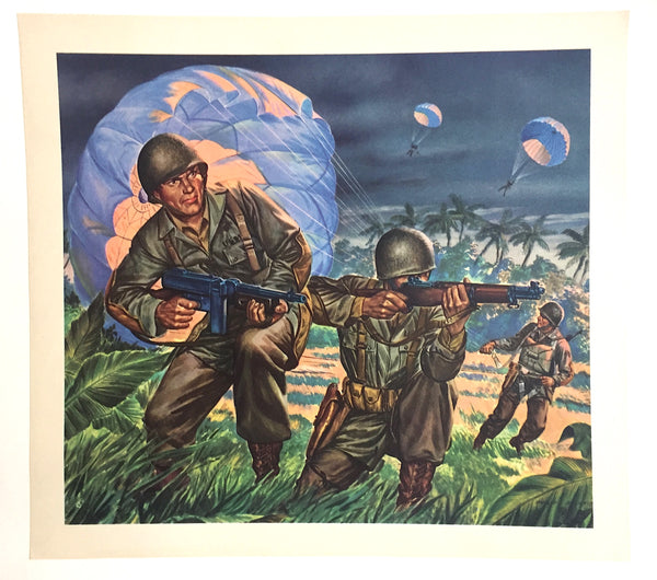 1940's Vintage WWII WW2 Philip Ronfor Illustrator Paratroopers Print