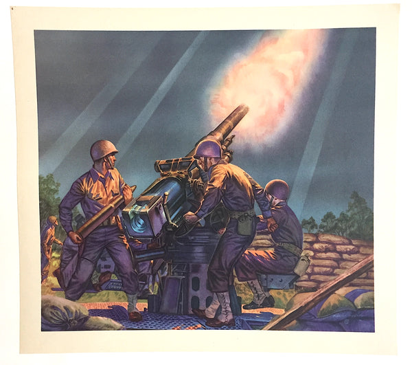 1940's Vintage WWII Philip Ronfor Field Artillery Canon Gun Print
