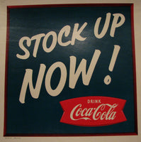 1950's Coca Cola or Coke Vintage Grocery Store / Diner Advertising Poster