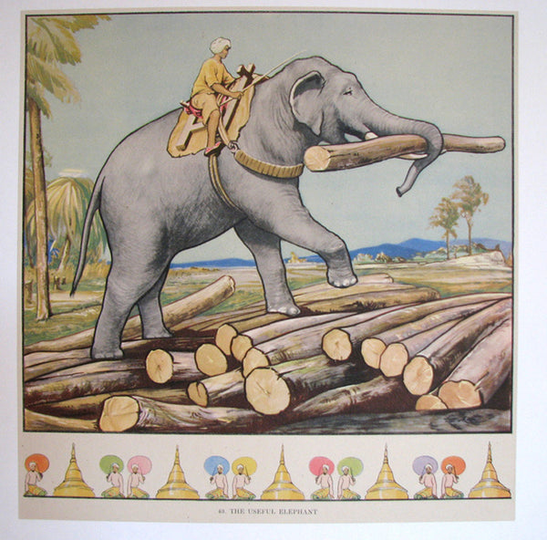 1930's British Elephant old India Vintage Children's Poster