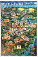1988 Dow Seoul Korea Summer Olympics Poster Map by Gary Whitney