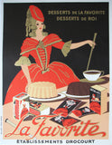 "1930's French ""La Favorite"" Cocoa Desserts Vintage Food Poster"