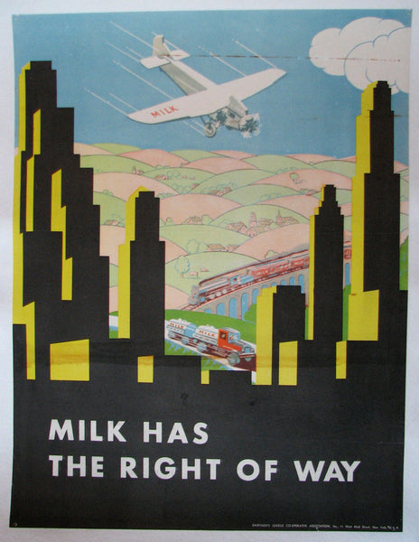 1930's Deco Airplane Dairymen's League Vintage Milk Poster