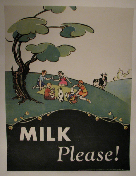 1930's Carroll Snell Dairymen's League Vintage Milk Poster